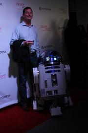 People were lined up to pose with this replica of R2D2, lovingly made by a member of the R2D2 Builders Club.