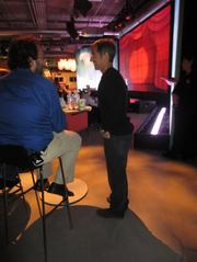 CEO Mark Pincus chats with Kostadi Roussos, a fellow and chief engineer at Zynga.