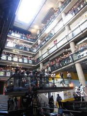 Zynga employees crowded the balcony's at the company's San Francisco headquarters to greet reporters.