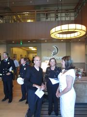 DreamWorks Animation CEO Jeffrey Katzenberg, Redwood City studio head Gail Currey, Redwood City Mayor Alicia Aguirre and other top city officials mingle in the company's luxe new lobby.