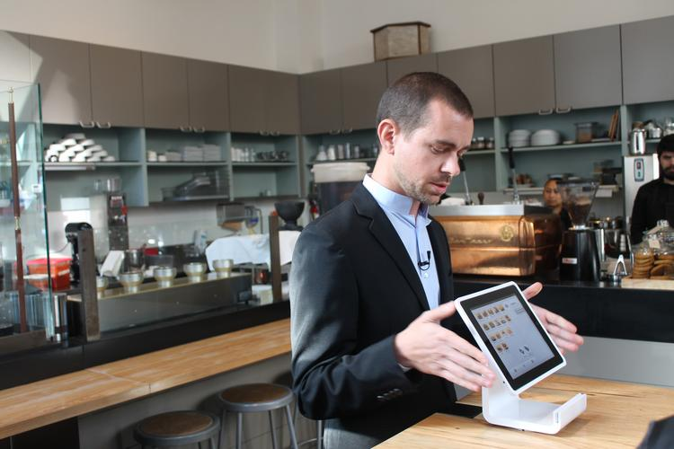 Square CEO Jack Dorsey introduces the Square Stand, a new piece of point-of-sale hardware that has a built-in credit card reader and an iPad for display and brains.