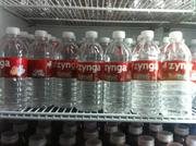 Those feeling parched could grab a cold bottle of Zynga water.