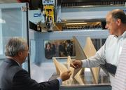 Autodesk CEO Carl Bass shows off innovative manufacturing products and tools to Mayor Ed Lee.