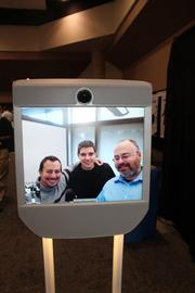Mike Zyskowski, Javier Luvaschi and Jay Beavers of Microsoft Research in Redmond, WA, attended RoboBusiness via a Beam telepresence unit, which allowed them to roam the exhibit hall. They noted that some people seem to forget their manners around robots, thinking nothing of butting in front or blocking a view.