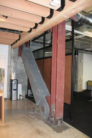One of the massive steel supports installed to prevent earthquake damage.