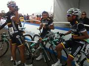 The Columbian Team, Colombia-Coldeportes, headed for the coffee before signing in for the race.