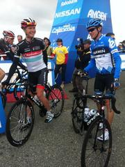 Ben King of Radioshack-Nissan and Alex Howes of Gamin-Barracuda catch up before the start of Stage 2 of the Amgen Tour of California.