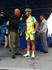 Peter Sagan, a rider with team Liquigas-Cannondale and winner of stage 1 of the 2012 Amgen Tour of California, is interviewed pre-stage 2.