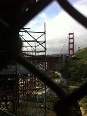 The Golden Gate Bridge under construction.