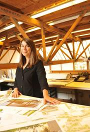 """Manuela King, vice president and co-owner of Royston Hanamoto Alley & Abey in Mill Valley, works with her team of about 10 landscape architects. The firm, which has landscaped campuses for Yahoo, Hewlett-Packard and Genentech, has annual revenues of $5.5 million. """"We are not super-hierarchical in our management,"""" King said. """"That carries through to the design teams,"""" who work collaboratively."""