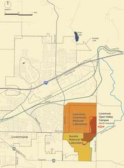This map shows the national labs — Lawrence Livermore and Sandia — and the land each lab controls as part of the 110-acre Livermore Valley Open Campus.