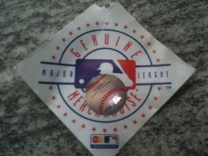 A hologram sticker with MLB merchandise.