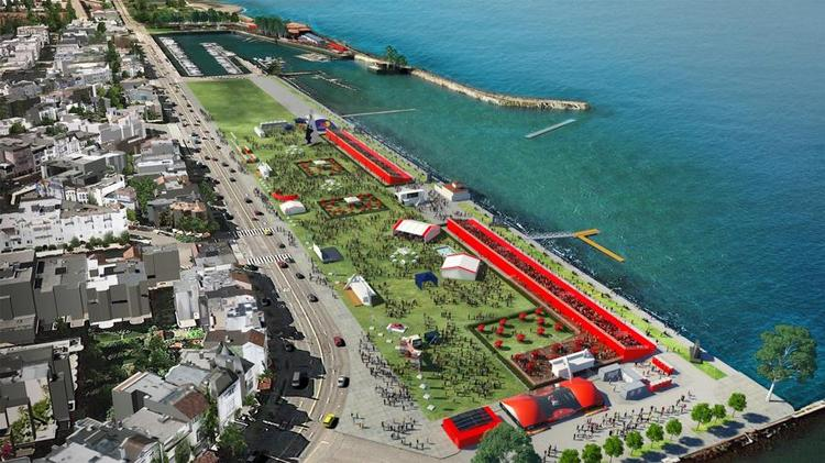 An artist's rendering of the Marina Green during the America's Cup, taking place July to September this year.