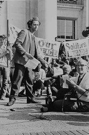 Mario Savio during the 1964 Free Speech Movement. Today the campus has a Free Speech Movement Café.