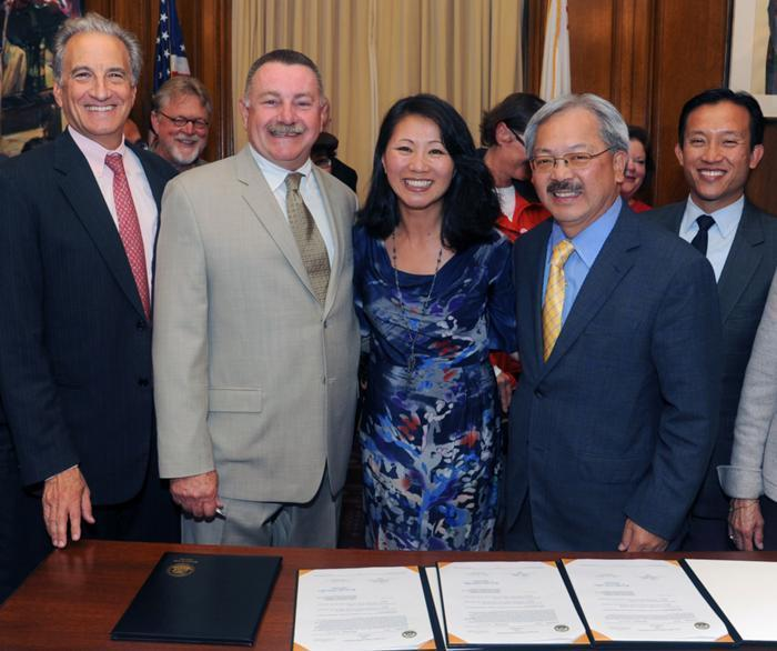 From left to right, front row: California Pacific CEO Warren Browner, M.D.; Mike Cohill, Sutter Health West Bay president; Judy Li, CPMC's vice president of health system innovation and community benefit; San Francisco Mayor Ed Lee; Supervisor Ed Chiu, president of the San Francisco Board of Supervisors. EndSelection:0000000397     CPMC's Vice President of Health System Innovation and Community Benefit