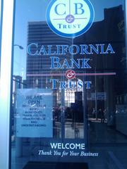 California Bank and Trust took precautions on Wednesday as protesters moved through downtown Oakland.