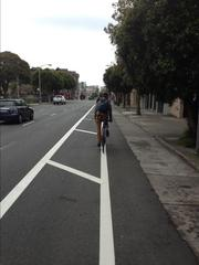The new bike lane along Oak Street, historically one of the most popular (and dangerous) bicycling stretches.