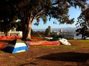 A camp right outside the fences of McGuire & Hester's $32 million reconstruction of the 12th Street Dam.