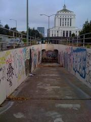 "A homeless man who says his name is ""Little Mac"" lived and cooked over an open fire in this tunnel for many years."