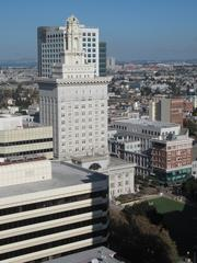 A view of Oakland City hall from the 20th floor of the Tribune Tower.