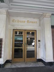The entrance to the Tribune Tower features marble.