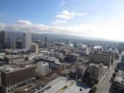 A view of downtown Oakland and Lake Merritt from the 20th floor of the Tribune Tower.