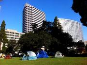 Tents in Snow Park in downtown Oakland on Tuesday morning.