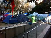 A week after the Nov. 2 strike and riot, the occupier tent city remained in front of City Hall.