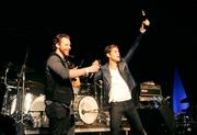 Sean Parker onstage with Perry Farrell of Jane's Addiction. | Photo: WireImage / Kevin Mazur
