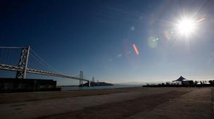 A view of the Bay Bridge from Piers 30-32.