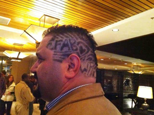 """Carved into Shervin Pishevar's hair were the names of a couple of portfolio companies that were nominated for """"Crunchies"""" honors — """"Uber"""" and """"Fab""""— along with """"Menlo."""""""