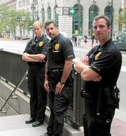 Wednesday, Sept. 12, the morning after: BART's Embarcadero Station entrance saw a noticeably raised police presence.