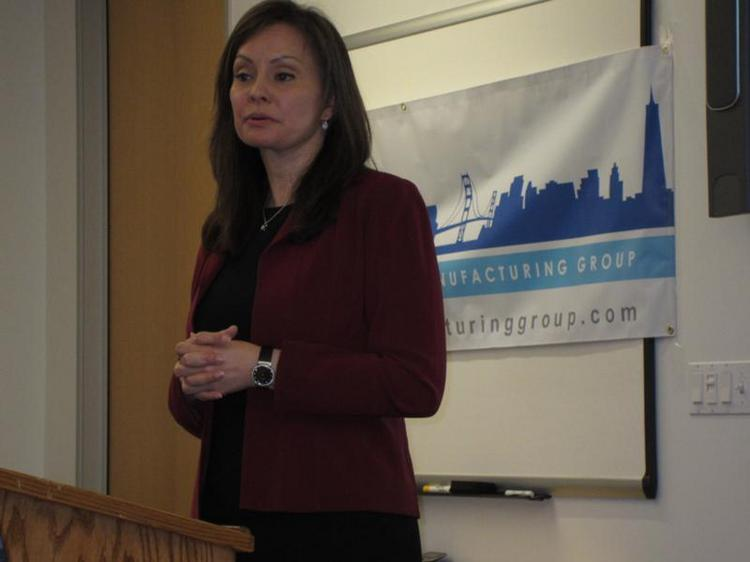 Rosie Rios, U.S. Treasurer, speaking about manufacturing in the East Bay.