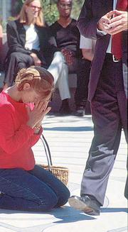 Day of Remembrance, Sept. 14, 2001, Grace Cathedral, San Francisco: Sending up a prayer.