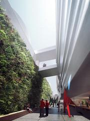 The new sculpture garden will extend from Howard to Minna Streets and be framed by vertical gardens lining the walls.