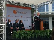 California Gov. Jerry Brown addresses the crowd at SunEdison's headquarters in Belmont on Monday.
