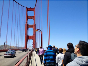 Team Dorsey storms the Golden Gate Bridge.