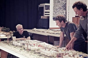 Facebook Inc. CEO Mark Zuckerberg meets with architect Frank Gehry to look over plans for a campus addition.