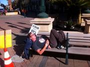 After the peaceful demonstrations on Wednesday, some took naps in the golden afternoon sunshine.