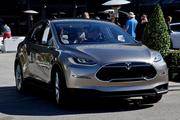Front view of the Tesla Model X sport utility vehicle.