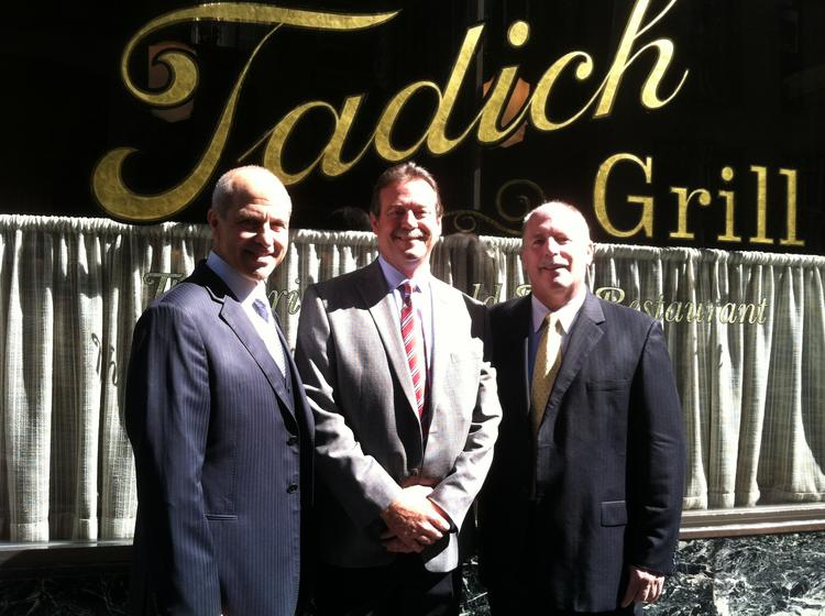 Tadich Grill CEO Michael Buich with Gerard Centioli, founder and CEO of Icon Inc., and Rick Powers, Tadich's managing partner.