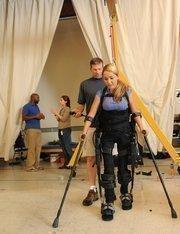 Tamara Mena tries out prosthetics at Ekso Bionics in Berkeley.