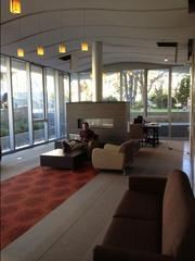 One of the interaction areas — complete with a fireplace — in USF's Lo Schiavo Center for Science and Innovation.