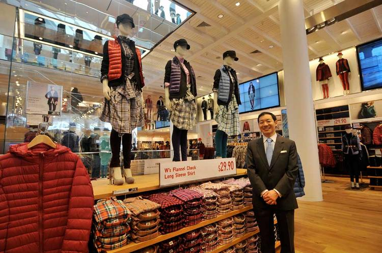Yasunobu Kyogoku, Uniqlo's U.S. COO, stands in the new San Francisco store, which opens Friday.