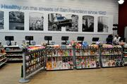 The store is completely catered to San Francisco, with several iconic images of the city posted throughout the store.
