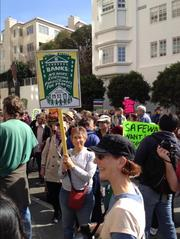 San Francisco resident Jan Medina, a real estate agent for 25 years, was among those expressing frustration and sorrow over foreclosures at a protest in front of the home of Wells Fargo CEO John Stumpf.