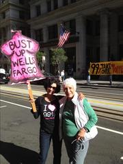 Dolores Perez Priem (right) joined with other protesters at Occupy Wells Fargo Monday to voice outrage over foreclosures and other issues. The protest occurred  before the bank's shareholders gather Tuesday for the annual meeting in San Francisco.