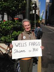 San Francisco resident Karla Jones said she joined Occupy Wells Fargo Monday to voice outrage over the bank's role in the foreclosure crisis.
