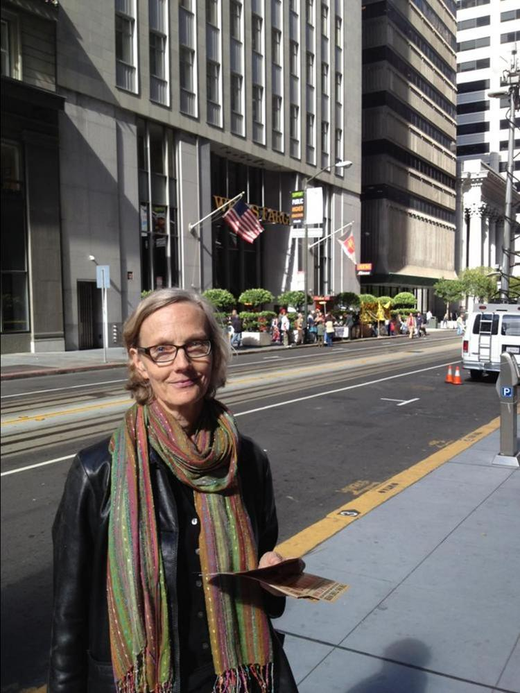 Retired professor Kathleen Densmore joined Occupy Wells Fargo in San Francisco Monday to voice her concerns over the nation's foreclosure crisis and growing student debt