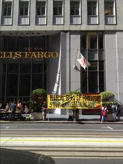 Occupy Wells Fargo protesters demonstrated Monday at the bank's headquarters, ahead of Tuesday's annual meeting in San Francisco.